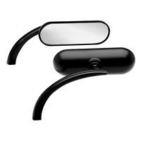 Black Custom Mini Oval rear view Mirror Harley Sportster Dyna Softail Arlen Ness