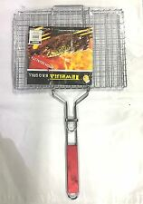 NEW Outdoor BBQ Fish Meat Barbeque Net Foldable Hand Held Grill Mesh Wire Clamp