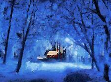 LANDSCAPE PAINTING WINTER SNOW COTTAGE FOREST BLUE LIGHT POSTER BB70A