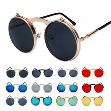 Vintage Retro Flip-up Lens Steampunk Sunglasses John Lennon Round Eye Glasses