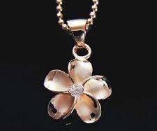 PINK ROSE SILVER 925 HAWAIIAN PLUMERIA FLOWER PENDANT CZ 15MM