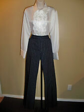 LIZ & CO NAVY PINSTRIPED CITY CHIC STRETCH MUST HAVE PANTS 14 NWT SHARP