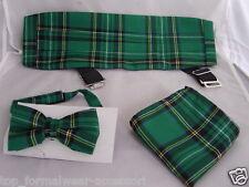 ( E )<Burns Night> TARTAN> Green/Black MENS Bow tie + Cummerbund and Hankie Set