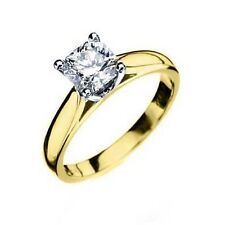 SOLITAIRE RADIANT SHAPE CUT DIAMOND ENGAGEMENT RING YELLOW GOLD 1 CARAT WOMENS