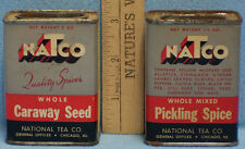 Vintage Lot 2 Spice Metal Containers NaTco National Tea Caraway Pickling Spice