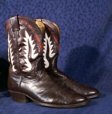 Vintage Soft Dark Brown Red & White Inlaid NOCONA Special Order Boots 10B