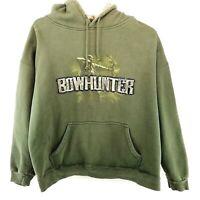 Buck Wear Bowhunter Sweatshirt Men's Hooded Long Sleeve Green Size XL Pullover
