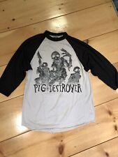 pig destroyer shirt baseball raglan paper thin holes medium