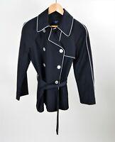 Chaps Women's Black/White Lightweight Button Rain Jacket/Pea Coat  P/M