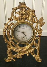 Cherub Figural Mantle Clock ~ Cast Metal ~ New Haven ~ Working