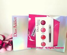 NEW 5 X DIOR ADDICT Hydra-Gel Mirror Shine Lipstick Sample Card 4 Shades w/Brush