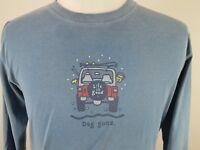 Life Is Good Mens Long Sleeve T Tee Shirt Sz Medium Dog Gone Jeep
