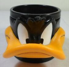 WARNER Bros VTG LOONEY TUNES DAFFY DUCK 3D FACE GREEK EBGA PLASTIC CUP MUG