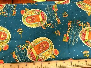"""Vintage Mary Engelbreit """"Key To Happiness"""" Cotton Quilt Sewing Fabric FQ #2122"""