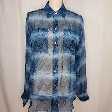 Equipment Small Top L/S Button Up Blue Snake Sheer Blouse Pockets Silk Shirt