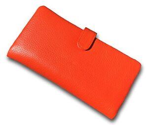 Ladies ORANGE Leather 19cm Wallet