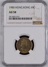 1980 Hong Kong 10 Cents $0.10 Coin NGC AU 58 Scarce