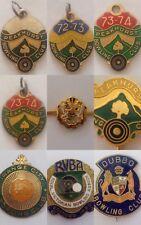 9 x Bulk Metal Bowling Membership Badges Pins Orange Peakhurst Dubbo Newcastle