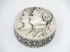 3.75 in - European Silver Antique German Monarch Portraits Round Box