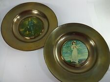 Vintage Made in England The Blue Boy & Pinkie Trafford Set of Brass Plaques