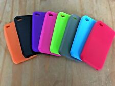 SET OF 8 COLOURED SOFT SILICONE RUBBER GEL CASES COVERS SKINS - APPLE iPHONE 4