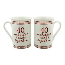 Amore **40th RUBY WEDDING ANNIVERSARY MUG SET WONDERFUL YEARS TOGETHER** WG672