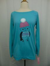 Jenni Sleepwear, Long Sleeve Aqua Owl Graphic Pajama Lounge Top XS #2954