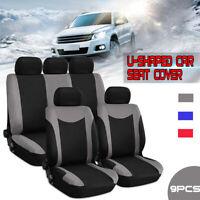 Universal Car Seat Cover Full Set 9Pcs Front & Rear Seat Cushion Protector  b