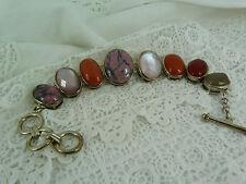 Large Stone set Sterling Silver, 925 Rhodonite & Carnelian Bracelet, 8''