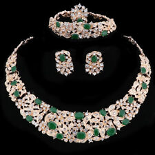 Women Gold Plated Green Rhinestone Crystal Pendant Necklace Party Jewelry Sets