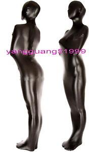 Unisex Mummy Suit Outfit Black Shiny Metallic Mummy Costumes Sleeping Bag F064