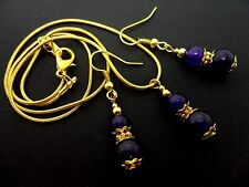 A  PURPLE JADE  NECKLACE AND   EARRING SET. NEW.
