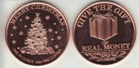 GIVE THE GIFT of  REAL MONEY   1 oz.  MERRY CHRISTMAS  Copper Round  AOCS   Coin