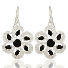 Natural Black Onyx White Topaz 925 Silver Gemstone Floral Hook Earring Dangle