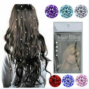 8 Hair Crystal Diamond Hair Gems Rhinestone Clip-in Extension Party Wedding