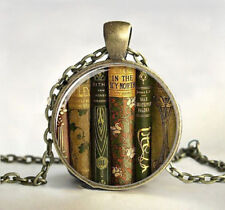 Teacher's Book Gift Cabochon Tibetan Bronze Glass Chain Vintage Pendant Necklace