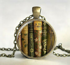 Teacher's Book Gift Cabochon Tibetan Bronze Glass Chain Necklace Pendant 1PC