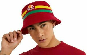 Mens Ellesse Lanori 2070 Heritage Stripe Bucket Hat Red OneSize