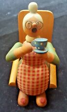 VINTAGE SMOKER ERZGEBIRGE EAST GERMANY GRANDMA DRINKING HOT TEA INCENSE BURNER