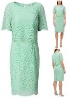 New Ex Jacques Vert Ladies Mint Green Layer Wrap Wedding Party Dress Size 8- 24