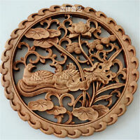 Collection Chinese HAND CARVED 鸳鸯 STATUE CAMPHOR WOOD ROUND PLATE WALL SCULPTURE