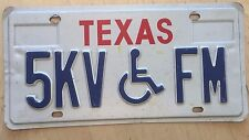 "TEXAS HANDICAPPED LICENSE PLATE "" 5KV FM "" TX  WHEELCHAIR  DISABLED PERSON"