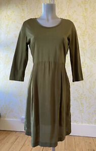 COS khaki green dress in two fabrics with 3/4 sleeves M UK 14