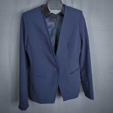 Banana Republic Womens Blazer Jacket 10 Tall Blue Ruffled Career Button Lined