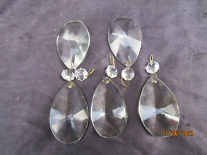 5 CHANDELIER GLASS PEAR DROPS 60MM THESE ARE FACETED BOTH SIDES NOT HALF CUTS