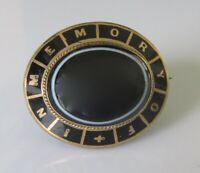 "Victorian 9ct Yellow Gold Agate & Enamel ""In Memory Of"" Mourning Brooch"