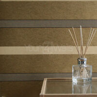 SALE! 'Opulence' striped delux wallpaper - Metallic Gold, Matt Yellow & Brown