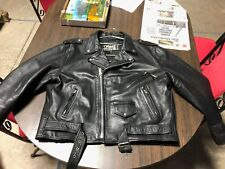 FIRST GENUINE LEATHER OLD SCHOOL MOTORCYCLE BLACK LEATHER JACKET..52 VGC