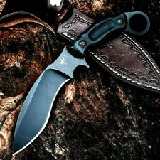 Wild Knife Mini Machete Fiberglass Ring Handle Black Survival Leather Sheath Cut
