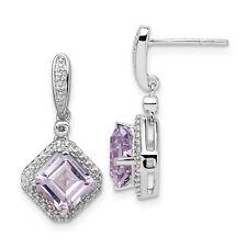 Sterling Silver Rhodium Diamond & Pink Quartz Post Dangle Earrings